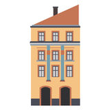 Beautiful detailed linear cityscape collection with townhouses. Small town street  victorian building facades. Template Royalty Free Stock Images