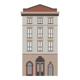 Beautiful detailed linear cityscape collection with townhouses. Small town street with victorian building facades Stock Images