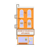 Beautiful detailed linear cityscape collection with townhouses. Small town street with victorian building facades Royalty Free Stock Photography