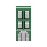 Beautiful detailed linear cityscape collection with townhouses. Small town street with victorian building facades Royalty Free Stock Photos
