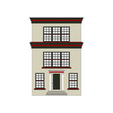 Beautiful detailed linear cityscape collection with townhouses. Small town street with victorian building facades Stock Photos
