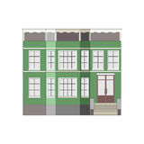 Beautiful detailed linear cityscape collection with townhouses. Small town street with victorian building facades Royalty Free Stock Images