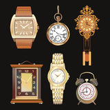 Beautiful detailed set illustrations of different clocks. Wall, table, watches. Retro style. Stock Images