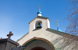 Beautiful details and blue tower of the Russian church in Belgrade Stock Photos