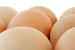 Beautiful details of eggs. In white background Stock Photos