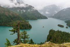 Beautiful Diablo lake in the mountains Washington state USA.  stock photography