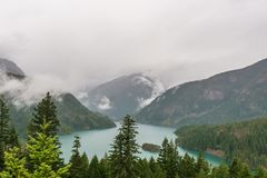 beautiful Diablo lake in the mountains Washington state USA stock photography