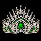 Beautiful diadem feminine wedding with emerald. Illustration beautiful diadem feminine wedding with emerald on black background Stock Photography