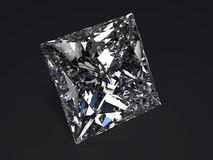 Beautiful diamond. Render with refraction and caustic on black background Stock Photo