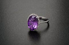Beautiful diamond ring isolated on black background Royalty Free Stock Photo