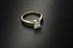 Beautiful diamond ring isolated on black background Royalty Free Stock Photos