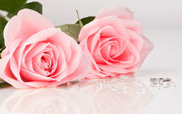 Beautiful diamond ring with pink roses Royalty Free Stock Image