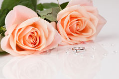 Beautiful diamond ring with pink roses Stock Images