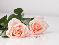 Beautiful diamond ring with pink roses Stock Photo