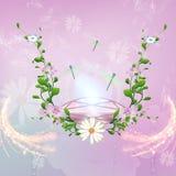 Beautiful diamond surrounded by flowers Stock Photo