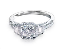 Beautiful diamond wedding engagment band ring solitaire with mul Stock Photos