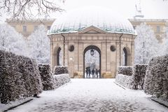 Beautiful Diana temple ,Dianatempel, in central Munich`s Hofgarten in the winter in Munich, Bavaria, Germany Stock Photography