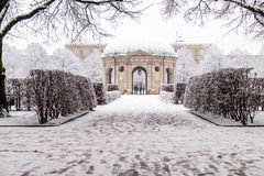 Beautiful Diana temple ,Dianatempel, in central Munich`s Hofgarten in the winter in Munich, Bavaria, Germany Royalty Free Stock Photography