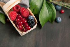 Beautiful different berries with leaves in a basket on a wooden table, close up. Beautiful different berries with leaves blueberries raspberries blackberries in Stock Image