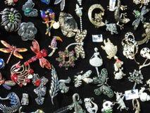 Unique brooch in street market, Latvia stock image