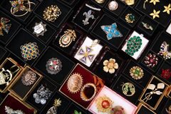 Different of jewelry in boxes. Beautiful different of jewelry in boxes Stock Image