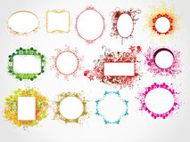 Beautiful different shape floral frames Royalty Free Stock Images