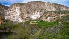 Three Par Golf Hole At Oak Quarry, Southern California. Beautiful and difficult three par golf hole at Oak Quarry, Southern California Royalty Free Stock Image