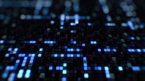 Beautiful digital code hexadecimal big data blue color moving on screen seamless. Changing symbols glowing looped 3d