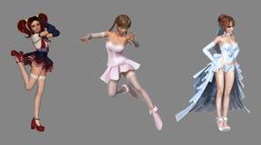 Beautiful Digital Fantasy Characters royalty free illustration