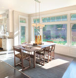 Dining Room in Luxury Home. Beautiful Dining Room with View in Luxury Home stock images