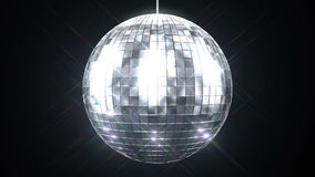 Beautiful Disco Ball Spinning seamless with Flares on Black Background. Loop-able isolated 3d animation of Mirrorball. HD 1080 stock footage