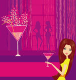 Beautiful disco girl. With drink-  illustration Royalty Free Stock Photography