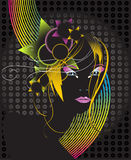 Beautiful disco woman. Beautiful disco girl on the black background Royalty Free Stock Images