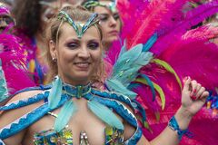 Beautiful disguised blond girl parading in the Rotterdam summer festival 2019