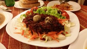 Beautiful dish and salad. In Zlatograd Royalty Free Stock Image