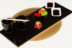 Beautiful dish of sushi rolls royalty free stock image