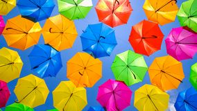 Colorful hanging umbrellas Royalty Free Stock Photos