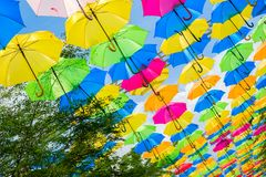 Colorful hanging umbrellas Stock Images