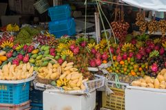 Beautiful display of exotic fruits royalty free stock photography