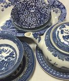 Beautiful Display of Vintage Dishes Royalty Free Stock Photo