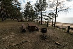Beautiful distant picnic and camping spot near a Baltic sea in a pine forest with a boulder beach in the background -. Veczemju Klintis, Latvia, April, 2019 royalty free stock photo