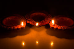 Beautiful Diwali Candels. In traditional festival in india Stock Photos