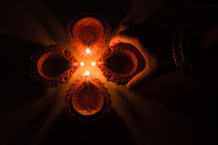Beautiful Diwali Candels. In traditional festival in india royalty free stock photography