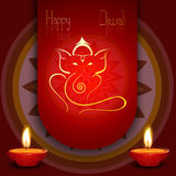 Beautiful diwali card colorful rangoli Artistic Lord Ganesha Royalty Free Stock Photos