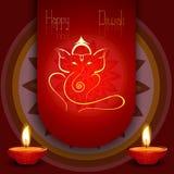 Beautiful diwali card colorful rangoli Artistic Lord Ganesha Royalty Free Stock Photos