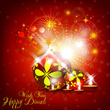 Beautiful  diwali card design in shiny glowing red color b. Ackground Stock Photos