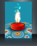 Beautiful diwali card reflection blue  Stock Photos
