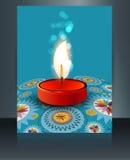Beautiful diwali card reflection blue. Colorful brochure template design Stock Photos