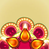 Beautiful diwali diya background stock illustration