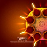 Beautiful diwali festival diya greeting background design. Vector illustration Royalty Free Stock Photo